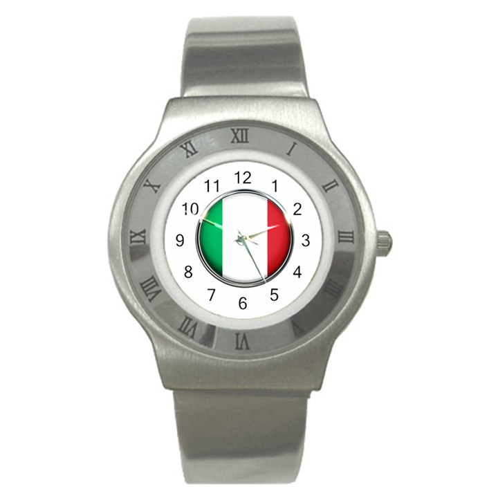 Italy Country Nation Flag Stainless Steel Watch