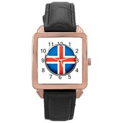 Iceland Flag Europe National Rose Gold Leather Watch