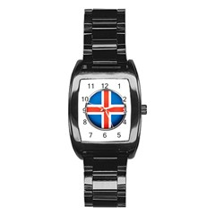 Iceland Flag Europe National Stainless Steel Barrel Watch
