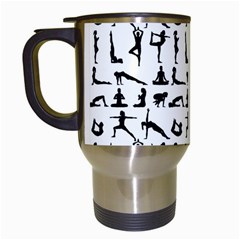 Yoga Pattern Travel Mugs (white) by Valentinaart