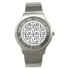 Yoga Pattern Stainless Steel Watch by Valentinaart