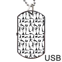 Yoga Pattern Dog Tag Usb Flash (two Sides) by Valentinaart