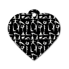 Yoga Pattern Dog Tag Heart (one Side) by Valentinaart