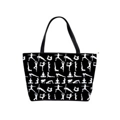 Yoga Pattern Shoulder Handbags by Valentinaart