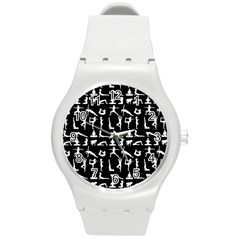 Yoga Pattern Round Plastic Sport Watch (m) by Valentinaart