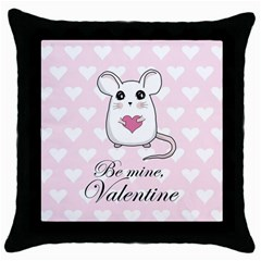 Cute Mouse   Valentines Day Throw Pillow Case (black) by Valentinaart