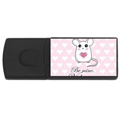 Cute Mouse   Valentines Day Rectangular Usb Flash Drive by Valentinaart