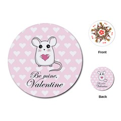 Cute Mouse   Valentines Day Playing Cards (round)  by Valentinaart