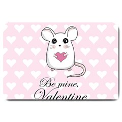 Cute Mouse   Valentines Day Large Doormat  by Valentinaart