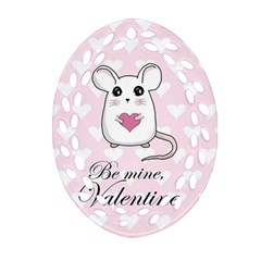 Cute Mouse   Valentines Day Ornament (oval Filigree) by Valentinaart