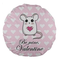 Cute Mouse   Valentines Day Large 18  Premium Round Cushions by Valentinaart