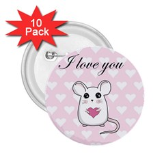 Cute Mouse - Valentines Day 2 25  Buttons (10 Pack)  by Valentinaart