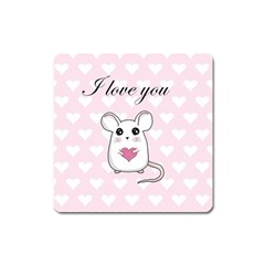 Cute Mouse   Valentines Day Square Magnet by Valentinaart