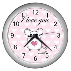 Cute Mouse - Valentines Day Wall Clocks (silver)  by Valentinaart