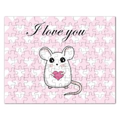 Cute Mouse   Valentines Day Rectangular Jigsaw Puzzl by Valentinaart