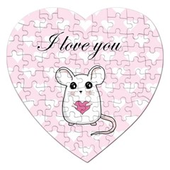 Cute Mouse   Valentines Day Jigsaw Puzzle (heart) by Valentinaart