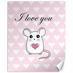 Cute Mouse   Valentines Day Canvas 16  X 20   by Valentinaart