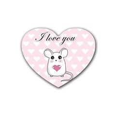 Cute Mouse   Valentines Day Rubber Coaster (heart)  by Valentinaart