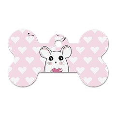 Cute Mouse   Valentines Day Dog Tag Bone (one Side) by Valentinaart