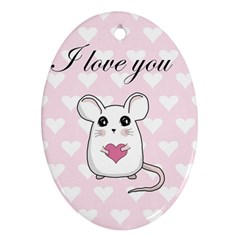 Cute Mouse   Valentines Day Oval Ornament (two Sides) by Valentinaart