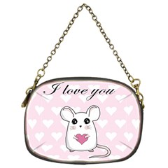 Cute Mouse   Valentines Day Chain Purses (two Sides)  by Valentinaart
