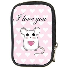 Cute Mouse   Valentines Day Compact Camera Cases by Valentinaart