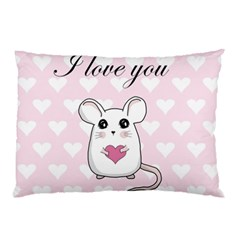 Cute Mouse - Valentines Day Pillow Case by Valentinaart