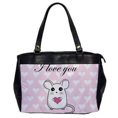 Cute Mouse   Valentines Day Office Handbags by Valentinaart