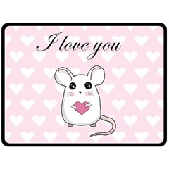 Cute Mouse   Valentines Day Fleece Blanket (large)