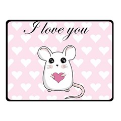 Cute Mouse   Valentines Day Fleece Blanket (small) by Valentinaart