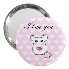 Cute Mouse   Valentines Day 3  Handbag Mirrors by Valentinaart