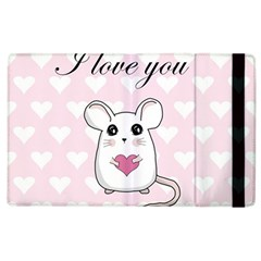 Cute Mouse   Valentines Day Apple Ipad 3/4 Flip Case by Valentinaart