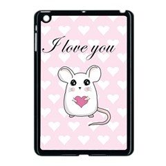 Cute Mouse   Valentines Day Apple Ipad Mini Case (black)