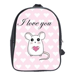 Cute Mouse   Valentines Day School Bag (xl) by Valentinaart