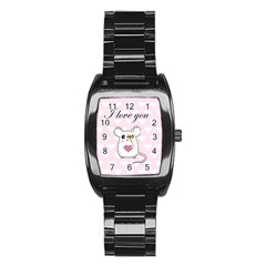 Cute Mouse - Valentines Day Stainless Steel Barrel Watch by Valentinaart