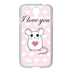 Cute Mouse   Valentines Day Samsung Galaxy S4 I9500/ I9505 Case (white) by Valentinaart