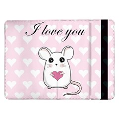 Cute Mouse   Valentines Day Samsung Galaxy Tab Pro 12 2  Flip Case by Valentinaart