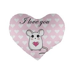 Cute Mouse   Valentines Day Standard 16  Premium Flano Heart Shape Cushions by Valentinaart