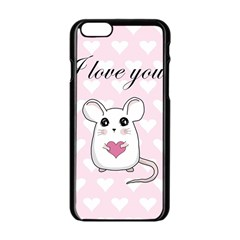 Cute Mouse   Valentines Day Apple Iphone 6/6s Black Enamel Case by Valentinaart
