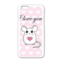 Cute Mouse   Valentines Day Apple Iphone 6/6s White Enamel Case by Valentinaart