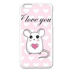 Cute Mouse   Valentines Day Apple Iphone 6 Plus/6s Plus Enamel White Case by Valentinaart