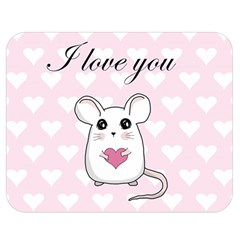 Cute Mouse   Valentines Day Double Sided Flano Blanket (medium)  by Valentinaart