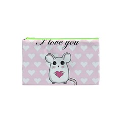 Cute Mouse   Valentines Day Cosmetic Bag (xs) by Valentinaart