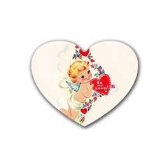 Cupid   Vintage Rubber Coaster (heart)  by Valentinaart