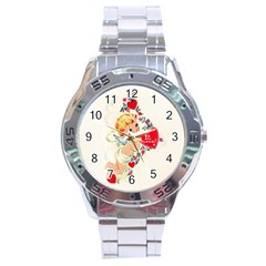 Cupid   Vintage Stainless Steel Analogue Watch by Valentinaart