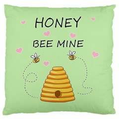 Bee Mine Valentines Day Large Flano Cushion Case (one Side) by Valentinaart