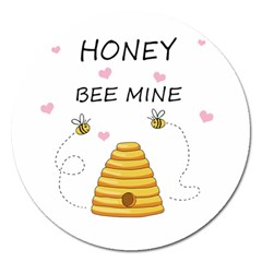 Bee Mine Valentines Day Magnet 5  (round) by Valentinaart
