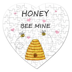 Bee Mine Valentines Day Jigsaw Puzzle (heart) by Valentinaart