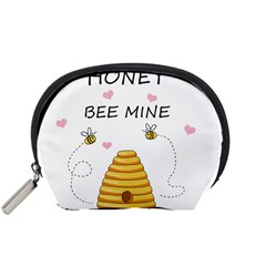 Bee Mine Valentines Day Accessory Pouches (small)  by Valentinaart