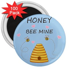 Bee Mine Valentines Day 3  Magnets (100 Pack) by Valentinaart